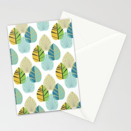 Mid Century Modern Leaves Gold Stationery Cards