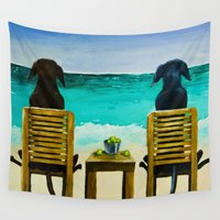 calvin Wall Tapestries featuring Beach Bums by Roger Wedegis
