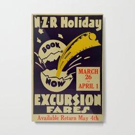 Excrusion Fares Vintage Travel Poster Metal Print