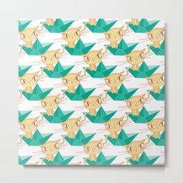 Pea Green boat Pattern Metal Print