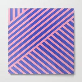 Crossing Lines - Pink & Blue Metal Print
