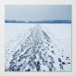 Snow Footprints Canvas Print