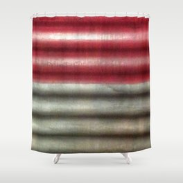 Industrial Wall | Red Grey Striped Wall | Contemporary Art Shower Curtain