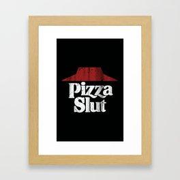 Vintage Pizza Slut Print Black Framed Art Print