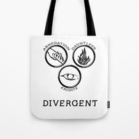 divergent Tote Bags featuring Divergent (Black) by Lunil
