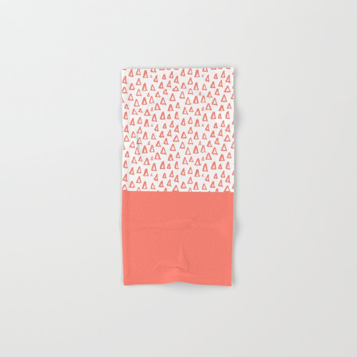 Triangles Coral Red Hand & Bath Towel