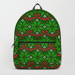 Festive knitted snowflake motif pattern in green & red Backpack