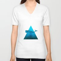 the whale V-neck T-shirts featuring Whale by Dnzsea