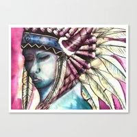native Canvas Prints featuring Native by Siriusreno