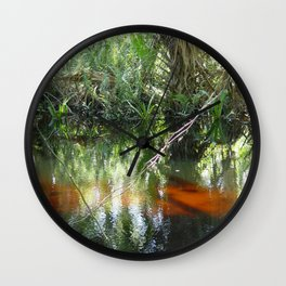 Red Waters Wall Clock