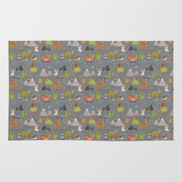 Forest Cute Animals and Birds Pattern Rug