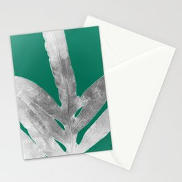 Christmas Fern, Holiday Green with Silver Winter Leaf Stationery Cards