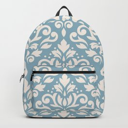 Scroll Damask Large Pattern Cream on Blue Backpack
