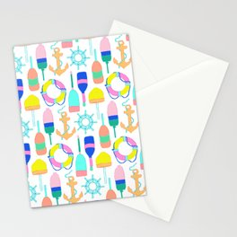 Nautical Notions in White + Candy Rainbow Stationery Cards