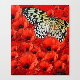 Butterfly in Poppies Canvas Print