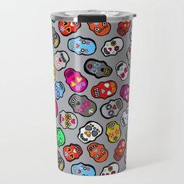 Mexican Sugar Skulls Grey Candy Travel Mug