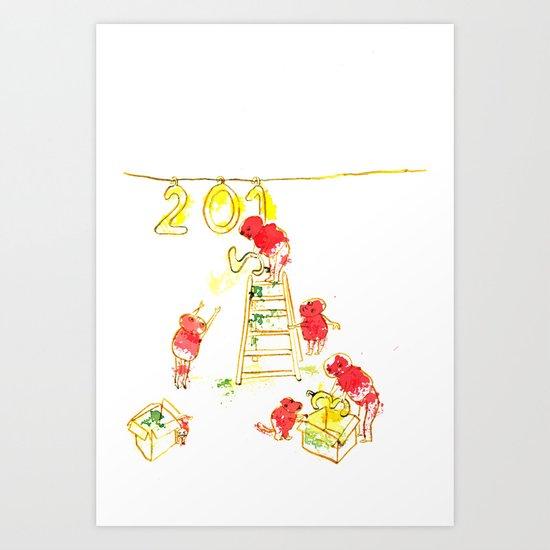 Preparando el año nuevo  Art Print
