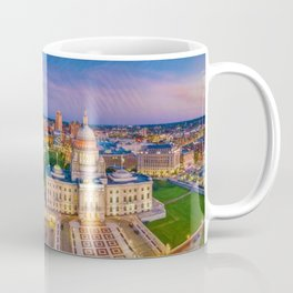 Downtown Providence, Rhode Island Twilight Cityscape landscape painting Coffee Mug