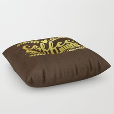 Coffee doesn´t judge, it understands- Gold glitter Typography Floor Pillow