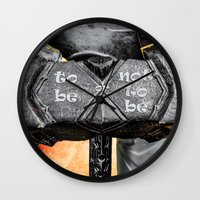 warhammer Wall Clocks featuring Medieval knight with a warhammer by digital2real
