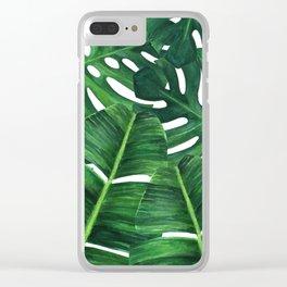 Tropical palm art Clear iPhone Case