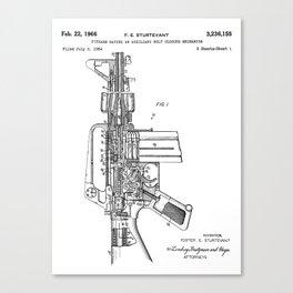 M16 Rifle Patent - Military Rifle Art - Black And White Canvas Print