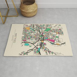 Colorful City Maps: Hartford, Connecticut Rug