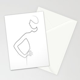 """Fashion Line Collection"" - Minimal One Line Woman Print Stationery Cards"