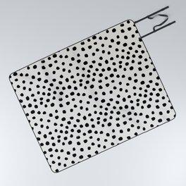 Preppy brushstroke free polka dots black and white spots dots dalmation animal spots design minimal Picnic Blanket