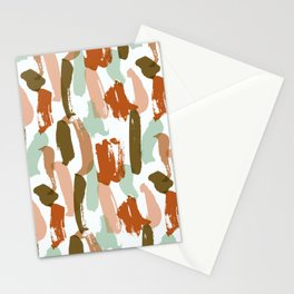 Retro Color Block Stripes Popsicle Sticks Rusty Orange Stationery Cards