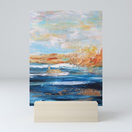Sailboats and Golden Rays filling the Sea Gold Mini Art Print