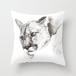Sketch Of A Captived Mountain Lion Throw Pillow