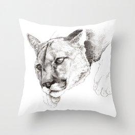 Sketch Of A Captived Mountain Lion Throw Pillow