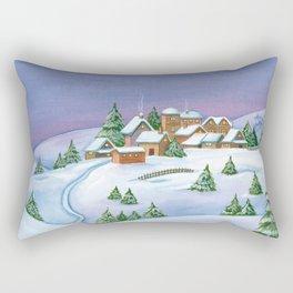 Landscape of a winter night Rectangular Pillow
