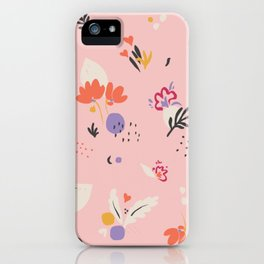 Abstract modern floral pink iPhone Case