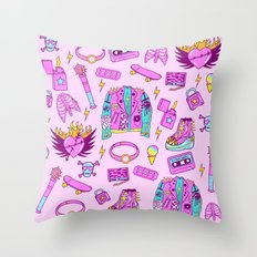 Pink Punk Girly Pattern Throw Pillow