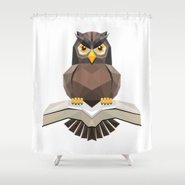 Vector, Brown Owl fly with the book Shower Curtain