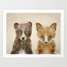 little fox little bear Art Print