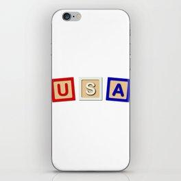 USA Wooden Blocks iPhone Skin