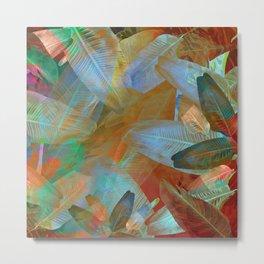 """""""Spring Tropical Pastel Leaves"""" Metal Print"""