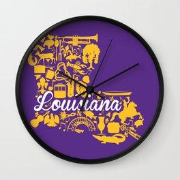 LSU Louisiana Landmark State - Purple and Gold LSU Theme Wall Clock