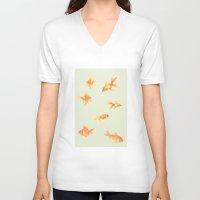 fish V-neck T-shirts featuring Fish by Dora Birgis