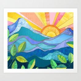 Sunset Through The Leaves Art Print