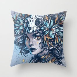 Night Cat Witch Throw Pillow