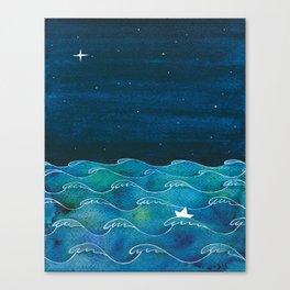 Night big ocean waves Canvas Print