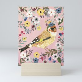 Goldfinch bird with floral crown Mini Art Print