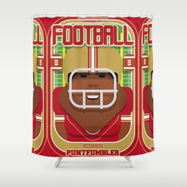 American Football Red and Gold - Enzone Puntfumbler - Hayes version Shower Curtain