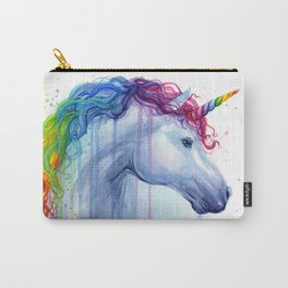 Rainbow Unicorn Colorful Watercolor Animal Carry-All Pouch