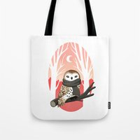 winter Tote Bags featuring Winter Owl by Freeminds