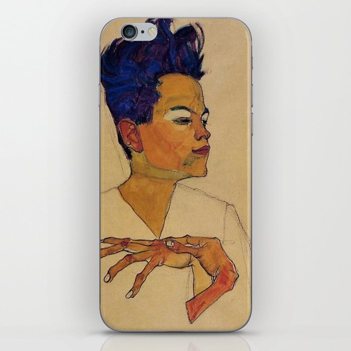 SELF PORTRAIT WITH HANDS ON CHEST - EGON SCHIELE iPhone Skin